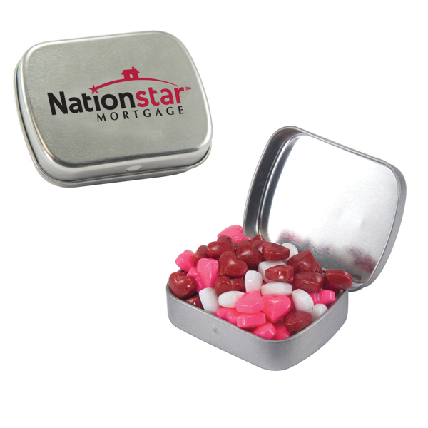 Customized Small Silver Mint Tin with Candy Hearts