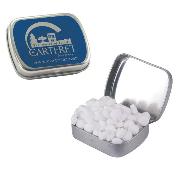 Customized Small Silver Mint Tin with Sugar-Free Mints