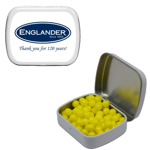 Customized Small White Mint Tin with Colored Bullet Candy