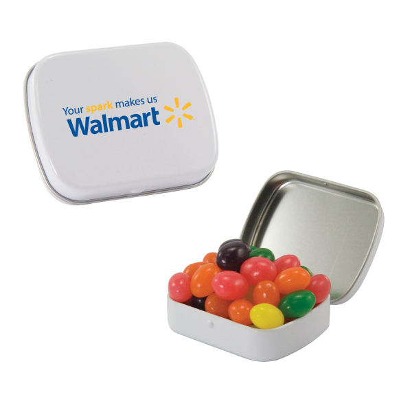 Imprinted Small White Mint Tin with Jelly Beans