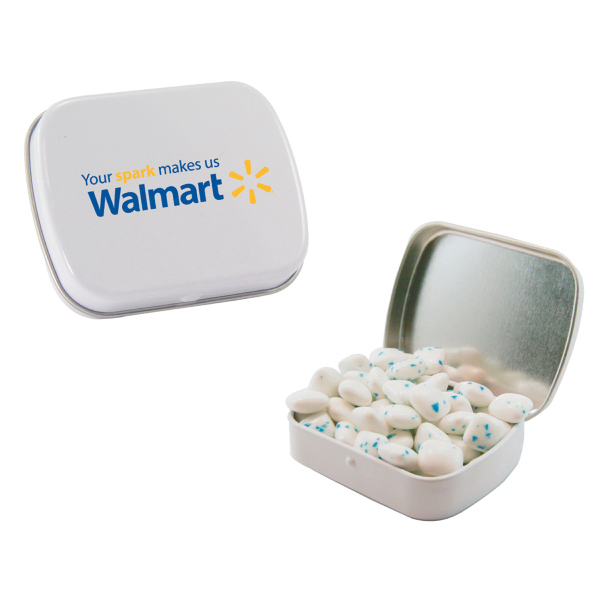 Promotional Sugar-Free Gum in White Mint Tin
