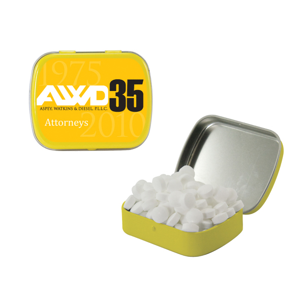 Personalized Small Yellow Mint Tin with Sugar-Free Mints