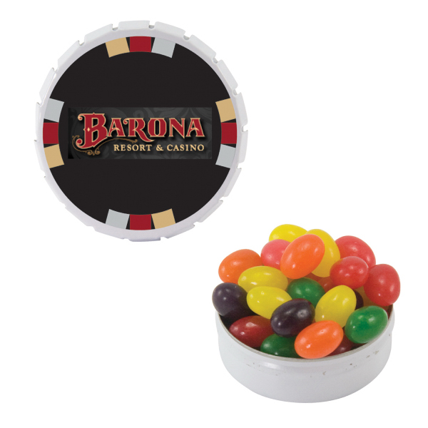 Printed White Snap-Top Mint Tin with Jelly Beans