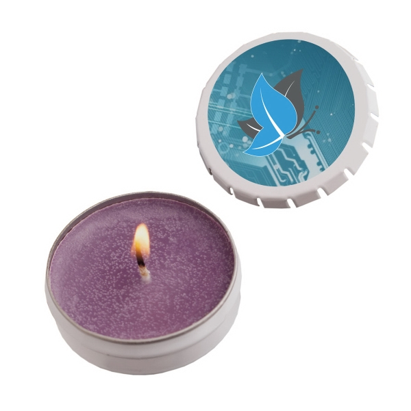 Printed Snap-Top Tin Soy Candle (Lilac) - Silver