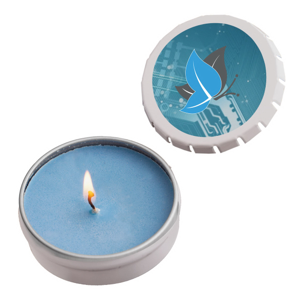 Imprinted Snap-Top Tin Soy Candle (Ocean Mist) - White