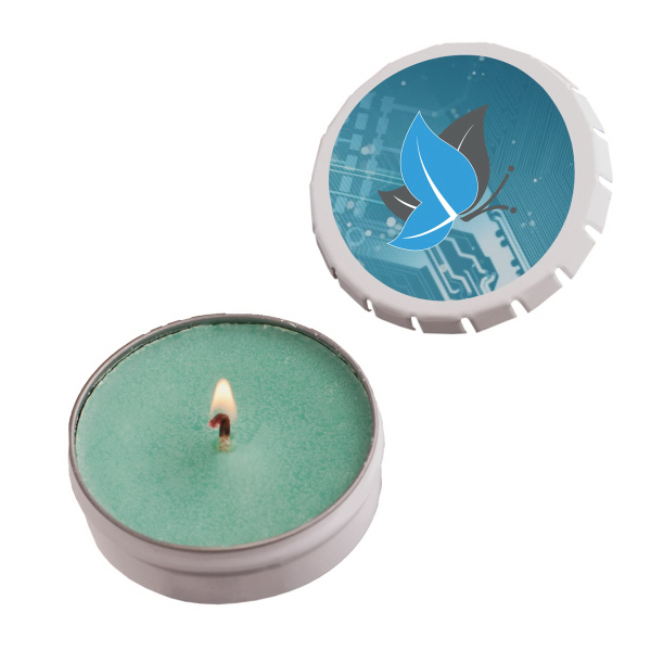 Imprinted Snap-Top Tin Soy Candle (Baked Apple) - White