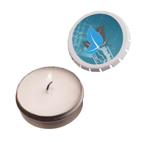 Imprinted Snap-Top Tin Soy Candle (Vanilla) - White - Eco Friendly