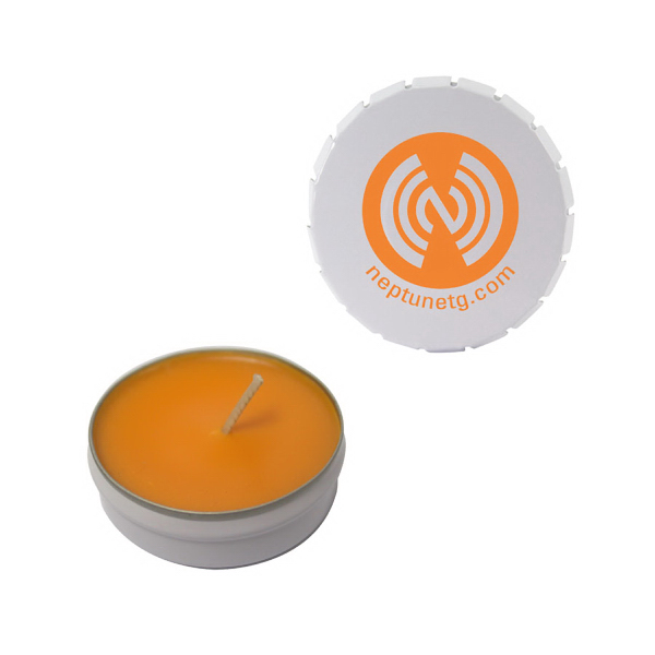 Personalized Snap-Top Tin Soy Candle (Mango and Papaya) - White