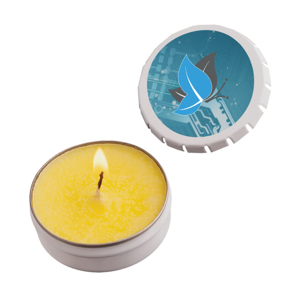 Personalized Snap-Top Tin Soy Candle (Lemon Chiffon) - White
