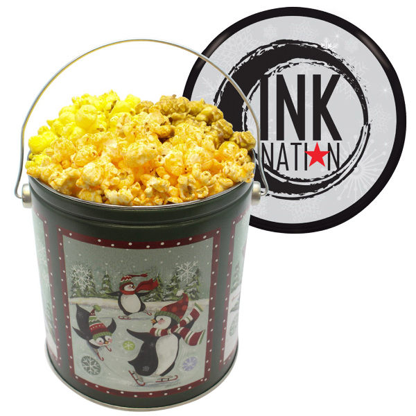 Custom One Gallon Popcorn Tin With Butter, Cheese, Caramel Popcorn
