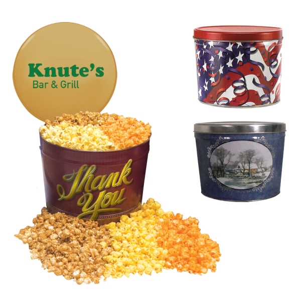 Personalized Two Gallon Popcorn Tin - Three Flavors