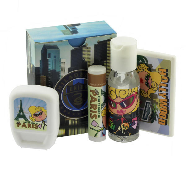 Customized Travel Kit with Mints, Hand Sanitizer, Lip Balm, and