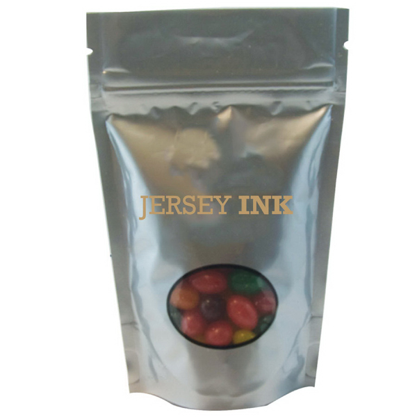 Imprinted Window Bag with Jelly Beans - Silver - Candy