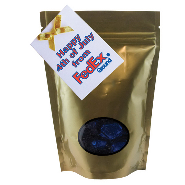 Printed Large Window Bag with Hard Candy - Foil Candy - Gold