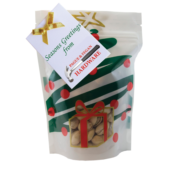 Imprinted Large Window Bag with Pistachio Nuts- Holiday Tree
