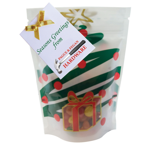 Personalized Large Window Bag with Jelly Beans Candy - Holiday Tree