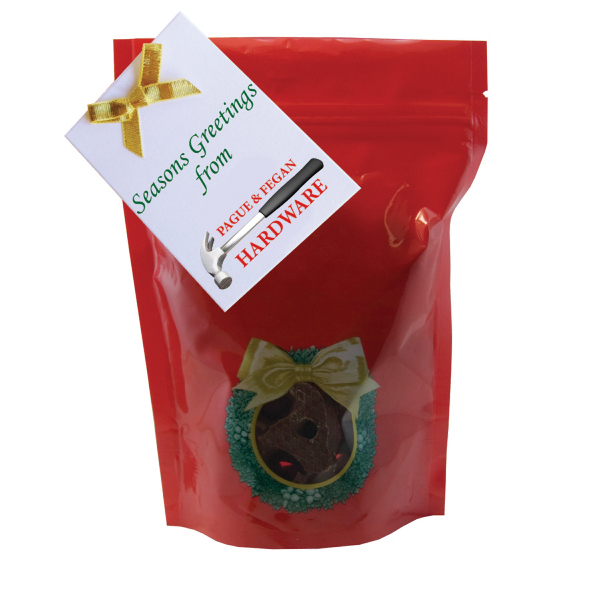 Promotional Large Window Bag with Mini Chocolate Pretzels-Holiday Wreath