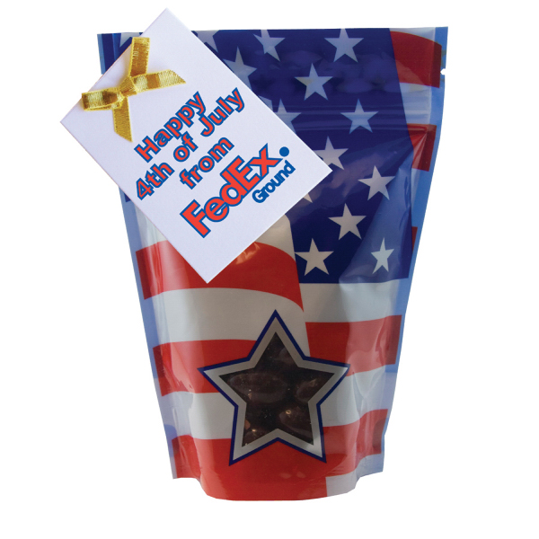 Imprinted Large Window Bag with Chocolate Almonds - Nuts - Patriotic