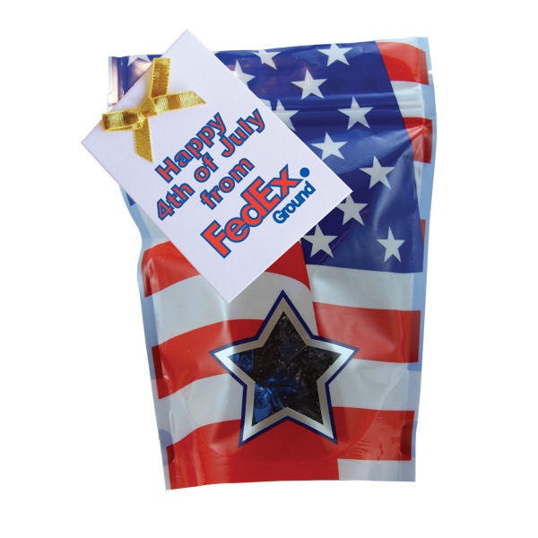 Custom Large Window Bag with Hard Candy - Foil Candy - Patriotic