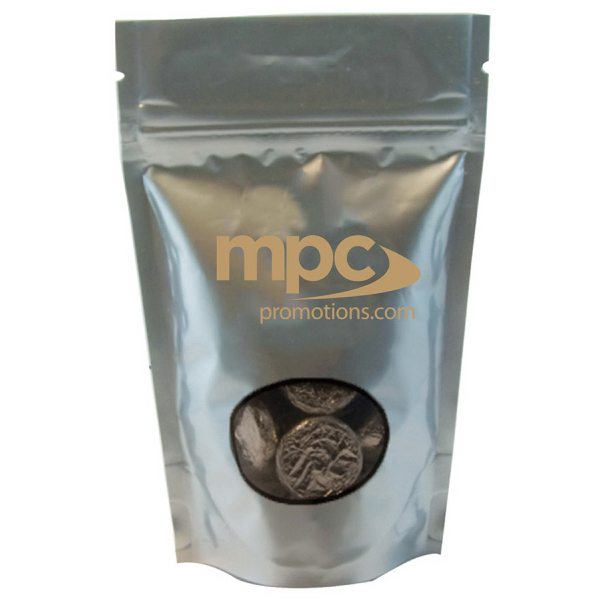 Imprinted Large Window Bag with Hard Candy - Foil Candy - Silver