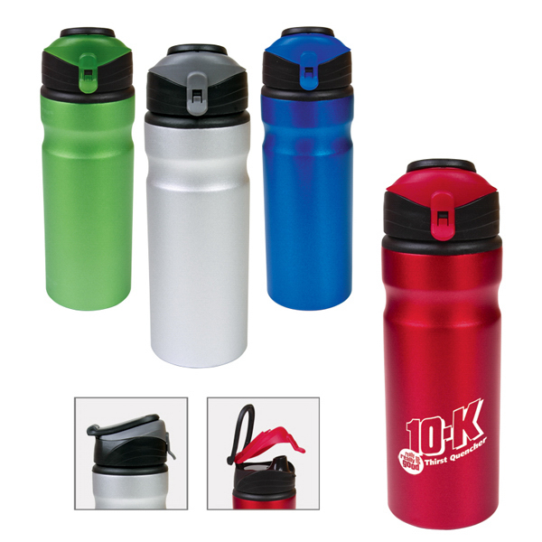 Imprinted 24oz Aluminum Water Bottle w/ Flap Cap