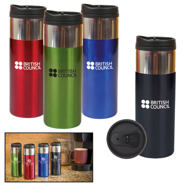 Imprinted 14 oz. Chrome Band Tumbler
