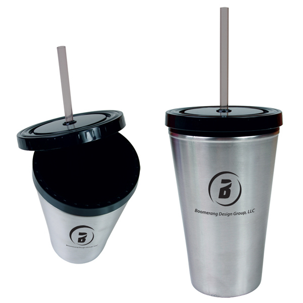 Imprinted 16oz Stainless Straw Tumbler