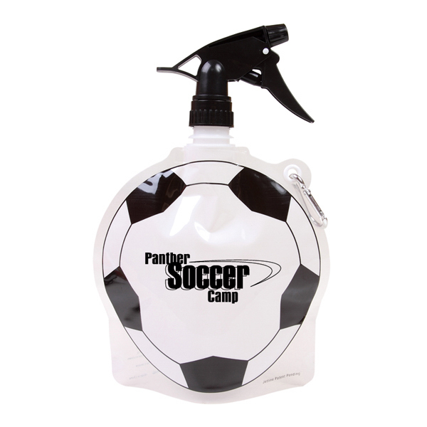 Personalized 24 oz Soccer Ball Collapsible Spray Top Water Bottle