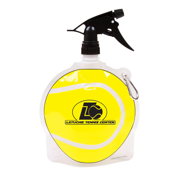 Custom 24 oz Tennis Ball Collapsible Spray Top Water Bottle