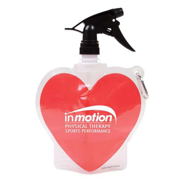 Promotional 18 oz Heart Collapsible Spray Top Water Bottle