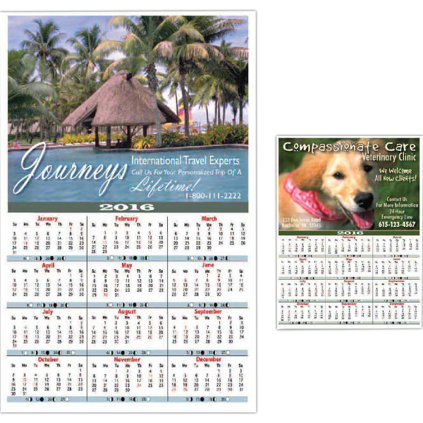Personalized Year-At- A- View Wall Calendar - Small