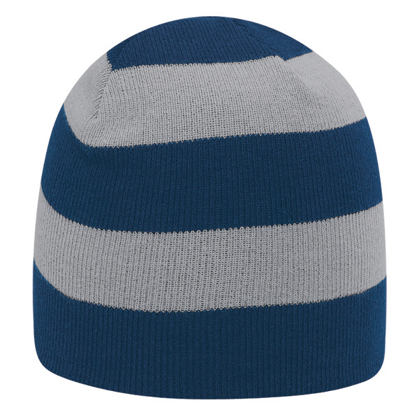 "Printed 8 1/2"" striped beanie"