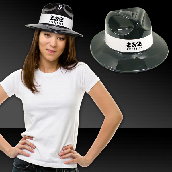Promotional Black Plastic Fedora with White Band
