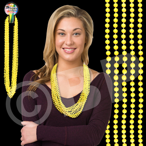 "Imprinted Yellow 33"" Beads"
