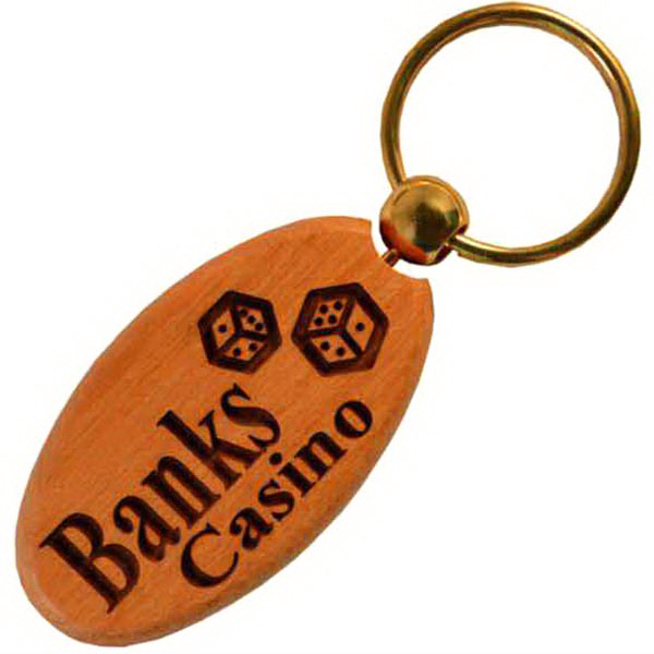 Personalized Oval Wood Keychain