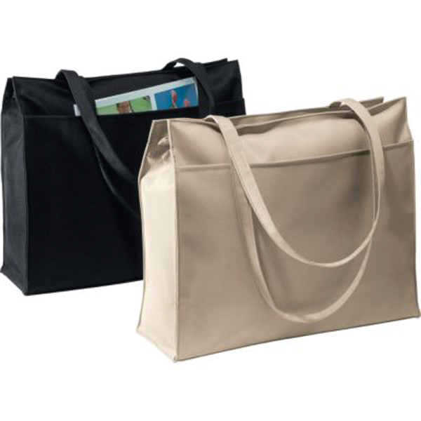 Imprinted Large zippered microfiber tote
