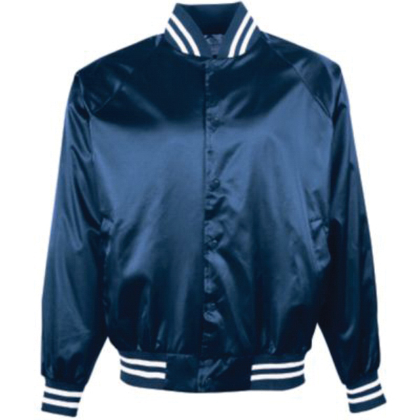 Imprinted Youth satin baseball jacket with striped trim