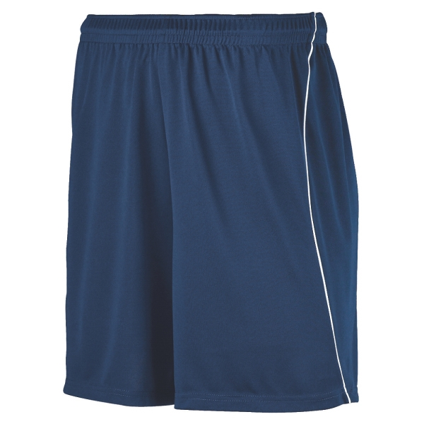 Imprinted Youth wicking soccer shorts with piping