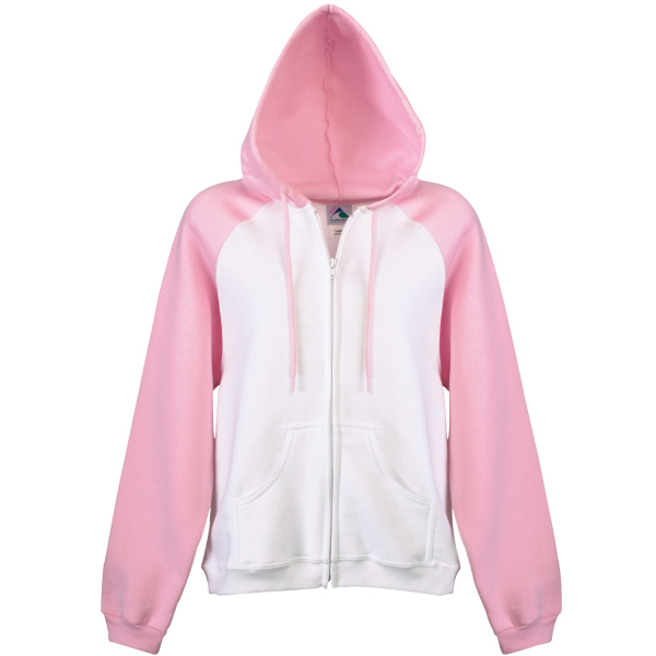 Printed Girls color block zip front hooded sweatshirt