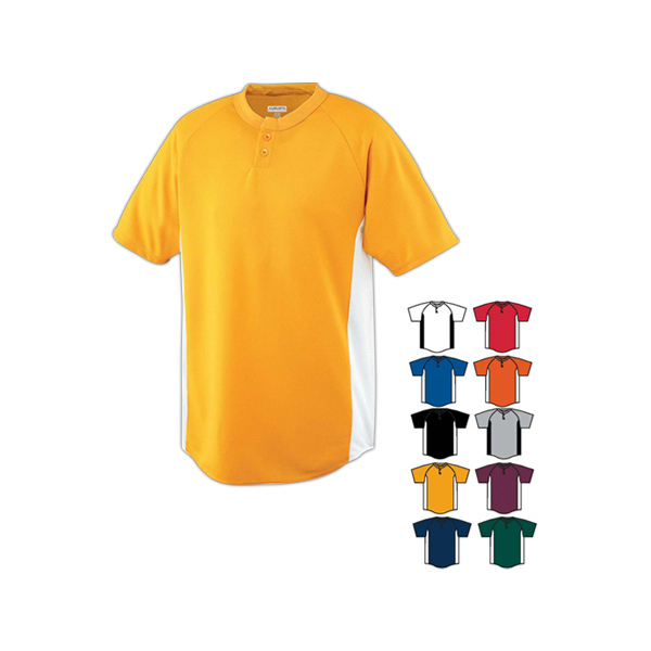Printed Wicking color block two button youth jersey