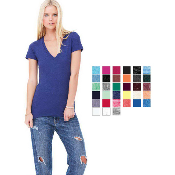 Customized Bella + Canvas Women's triblend v-neck tee