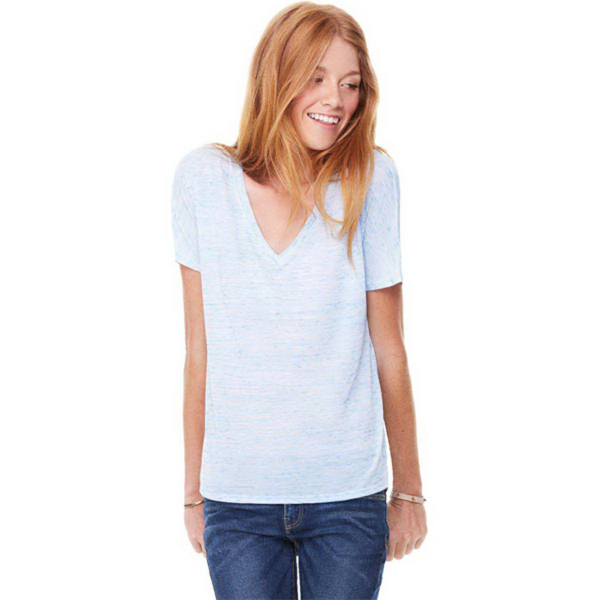 Printed Bella + Canvas Women's Flowy Simple V-neck Tee