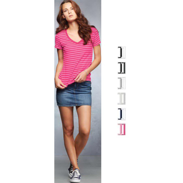 Customized Anvil Women's Sheer Stripe V-Neck Tee