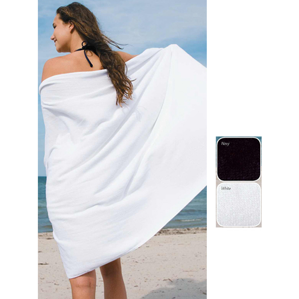Promotional White mid weight cotton beach towel