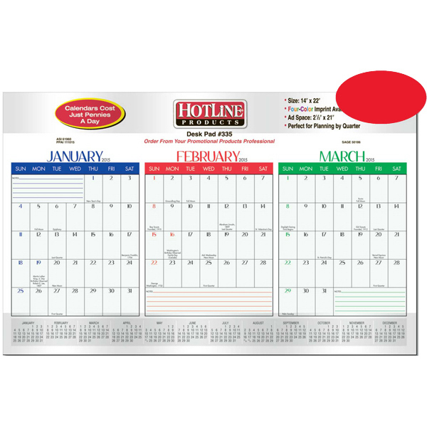 Customized Quarterly Desk Planner