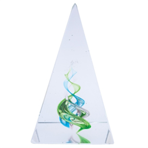 Customized Green Crystal Pyramid Paperweight