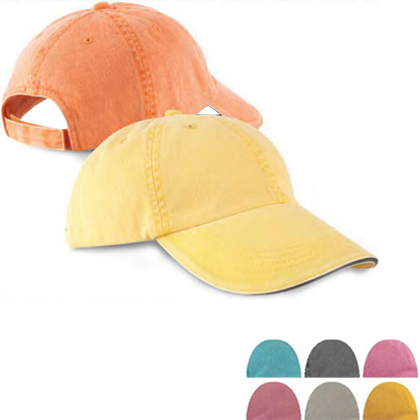 Imprinted Six Panel Pigment Dyed Twill Sandwich Cap