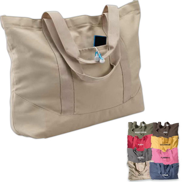 Printed Pigment Dyed Large Canvas Tote