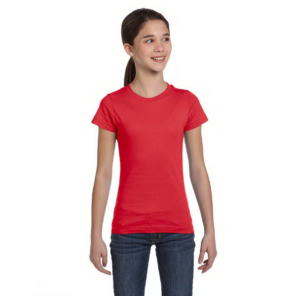 Custom Girls' Fine Jersey Longer Length T-Shirt