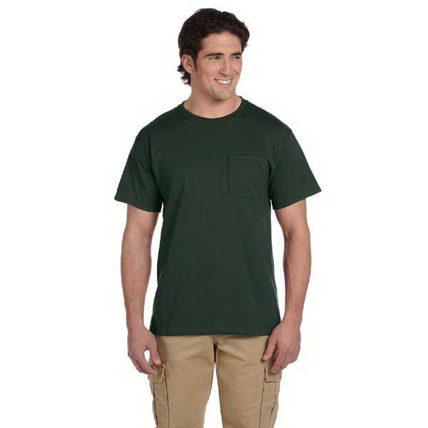 Imprinted Jerzees 5.6 oz, 50/50 Heavyweight Blend Pocket T-Shirt